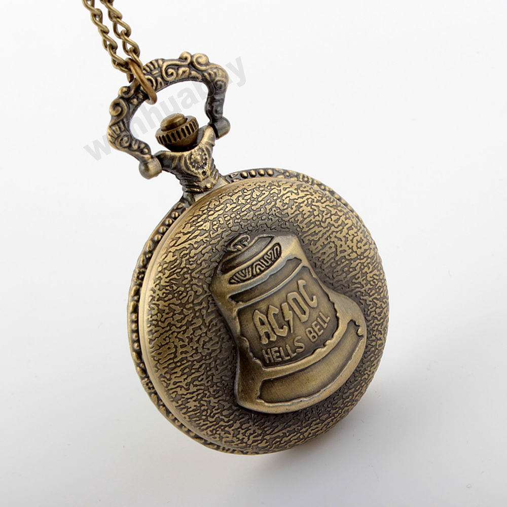 Antique Steampunk Bronze Hells Bell Pattern Pocket Watch With Pendant Chain Watch Men Gift P290