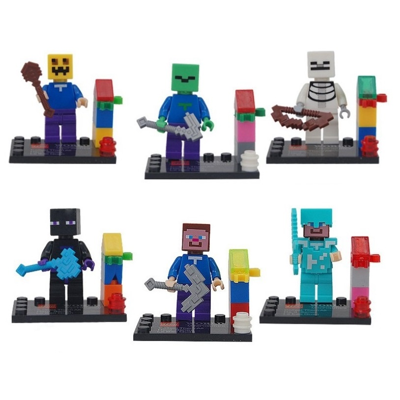 6pcs Lot Action Figure Game Minicraft Zombie Steve Skeleton Pumkin Coolie Building Blocks Toy Minifigures Compatible with Lego(China (Mainland))