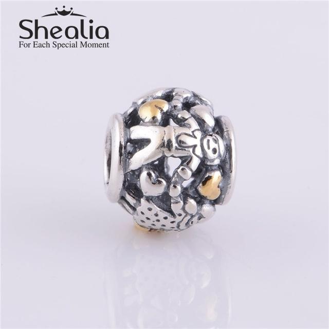 Аутентичные 925 серебро и золото семья бусины с золотым сердцем DIY ремесло ювелирных изделий подходит европейским очаровывает браслеты