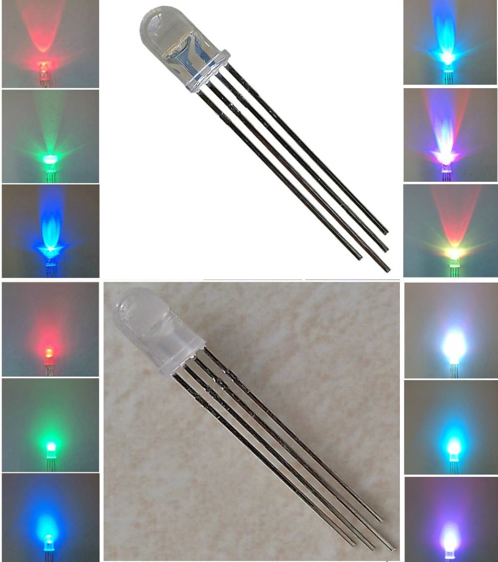 Free shipping 100pcs/lot LED 5mm RGB Common Anode 4Pin Tri-Color Emitting Diodes f5 RGB Diffused(China (Mainland))