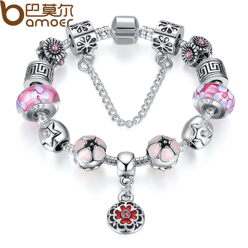 BAMOER Summer Collection Flower Pendant Bracelet & Bangle 925 Silver With Authentic Glass Bead Party Jewelry PA1845(China (Mainland))