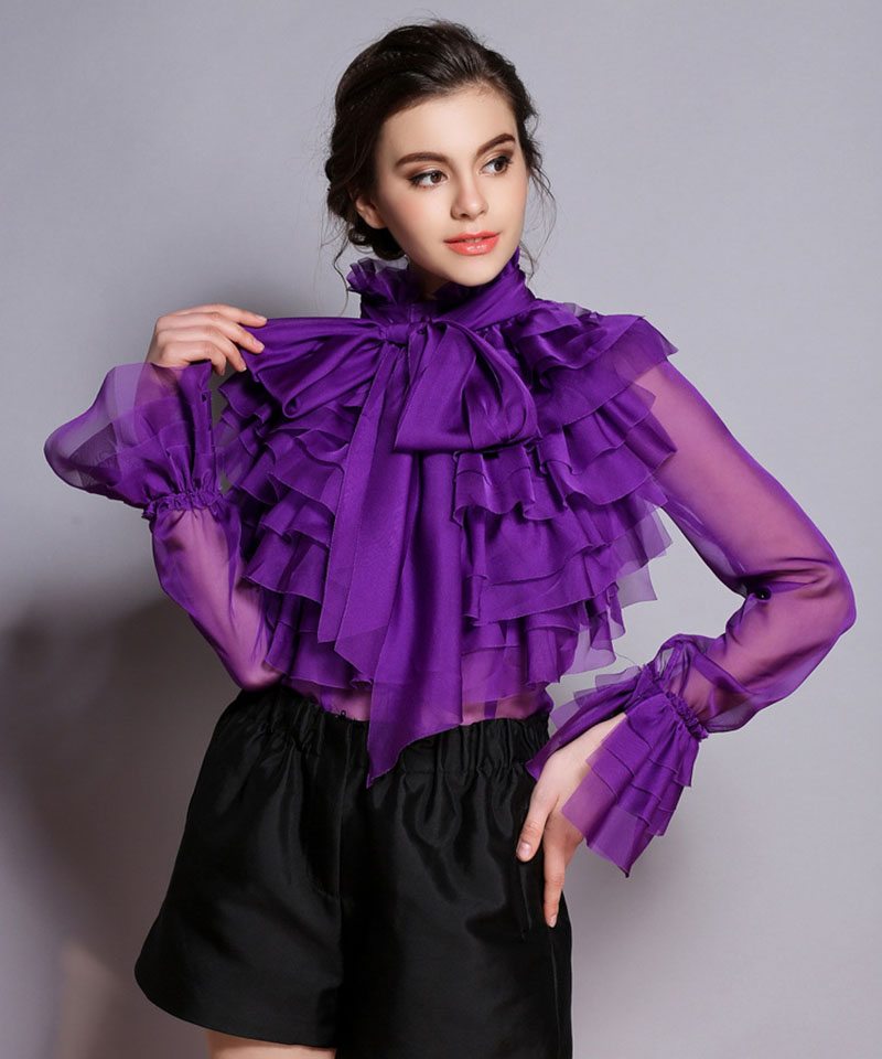 Chiffon Bow Shirt Edible Tree Fungus Stand Collar Solid Purple White Black Shirts Transparent Sleeves Women Blouse For SpringОдежда и ак�е��уары<br><br><br>Aliexpress