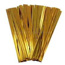 100 Pcs Metallic Twist Ties Wire for Cello Bags Cake Pops 4 Inch 10cm Gold 6402810(China (Mainland))