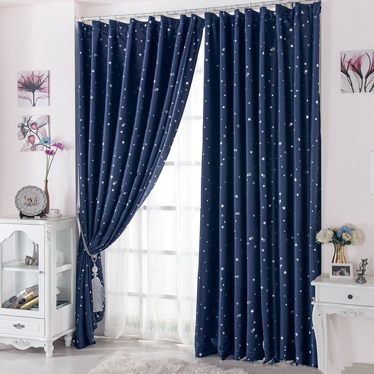 Curtain for 100% Blackout Cortinas Para Sala For Living Room Flat Window Curtains Drape RideauFinished Product Navy Blue 1 pcs(China (Mainland))