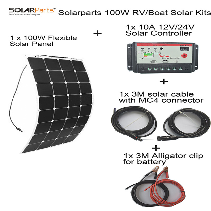 Solarparts 100W DIY RV/Boat Kits Solar System 1 x100W flexible solar panel 1x 10A solar controller 1 set 3M MC4 cable 1 set clip(China (Mainland))