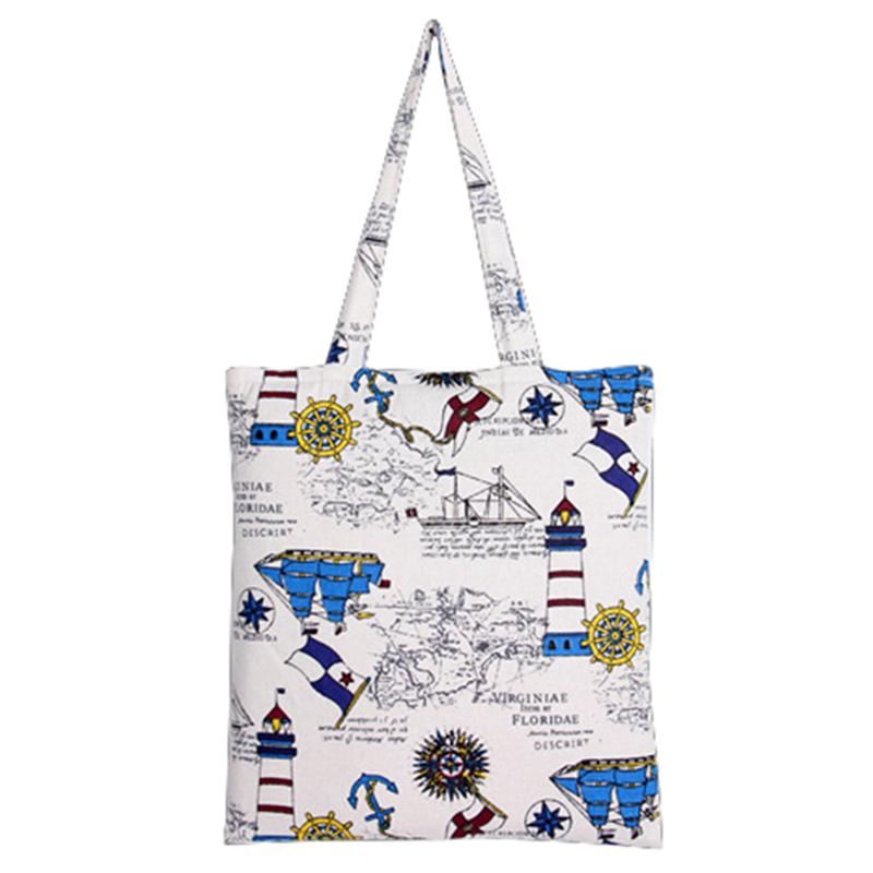 2016 Watchtower Pattern Eco Canvas Handbags / Woman Reusable Shoulder Shopping Totes Summer bolsa compra Ladies Tote Bag Cotton(China (Mainland))