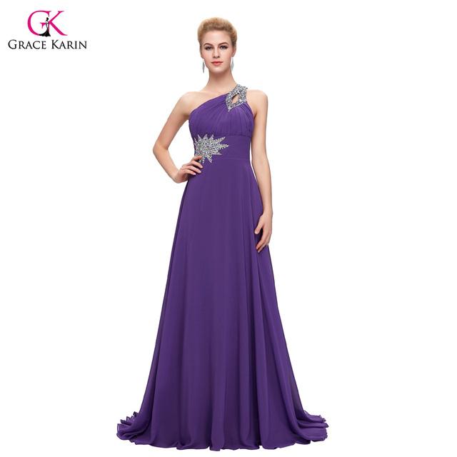 Women Elegant Cheap Long Evening Dresses 2017 Grace Karin One Shoulder Formal Evening Gowns Chiffon Purple Red abendkleider 2949