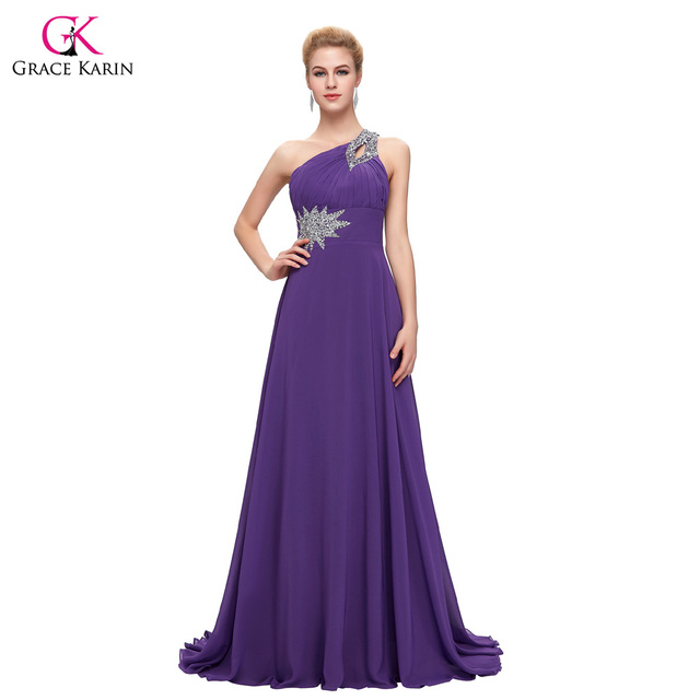 Women Elegant cheap Long Evening Dresses 2016 Grace Karin One Shoulder Formal Evening gowns Chiffon Purple Red abendkleider 2949