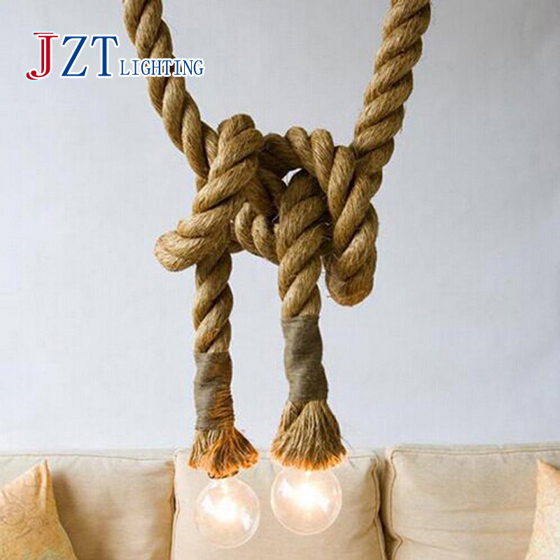 J best price LOFT INDUSTRIAL Toronto Manila 3M Rope Ceiling Lights Chandeliers RUSTIC vintage rope light creative lamp(China (Mainland))