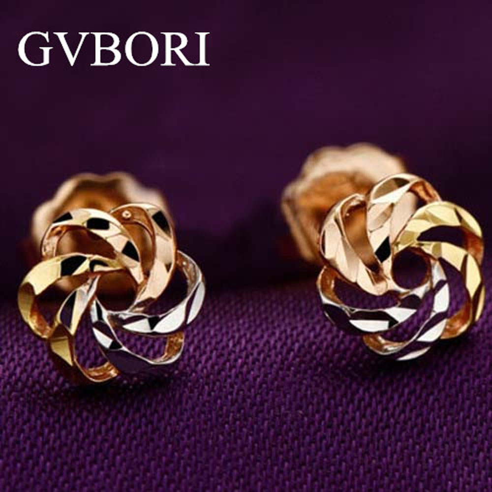 18K Solid Gold 1 Gram Lowest Price Women earrings Flower Design Free Shipping Three colors(China (Mainland))