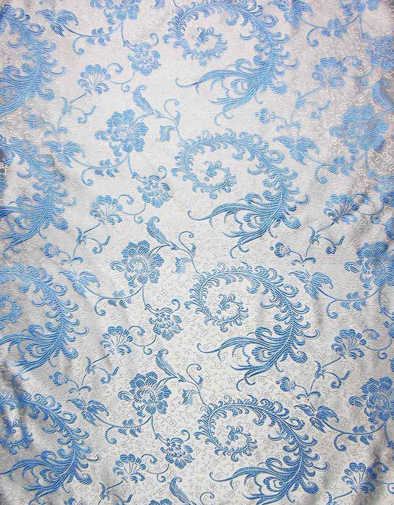 Chinese Brocade Light Upholstery ART. Silk Fabric Material Light Blue Phoeonix Tail Motif on White by The Meter(China (Mainland))