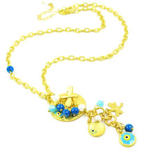 Fashion light gold plated women long chain necklace Evil Eye Mat Gold Necklace dragonfly charms pendants Necklace, NL-1736(China (Mainland))