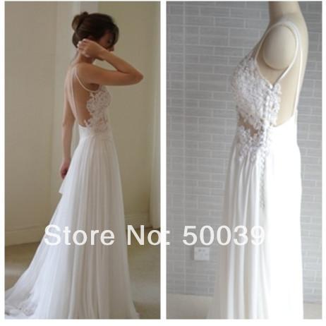Spaghetti Long Beach Wedding Appliqued Chiffon Lace Wedding Gown Bridal Dress Pattern(China (Mainland))