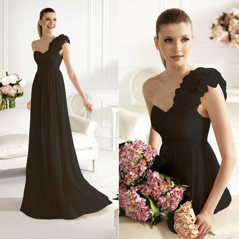 Elegant A-line One Shoulder Evening Dresses 2015 In Stock Sweetheart Chiffon Lace Up Flowers Prom Gowns Dresses SD126(China (Mainland))