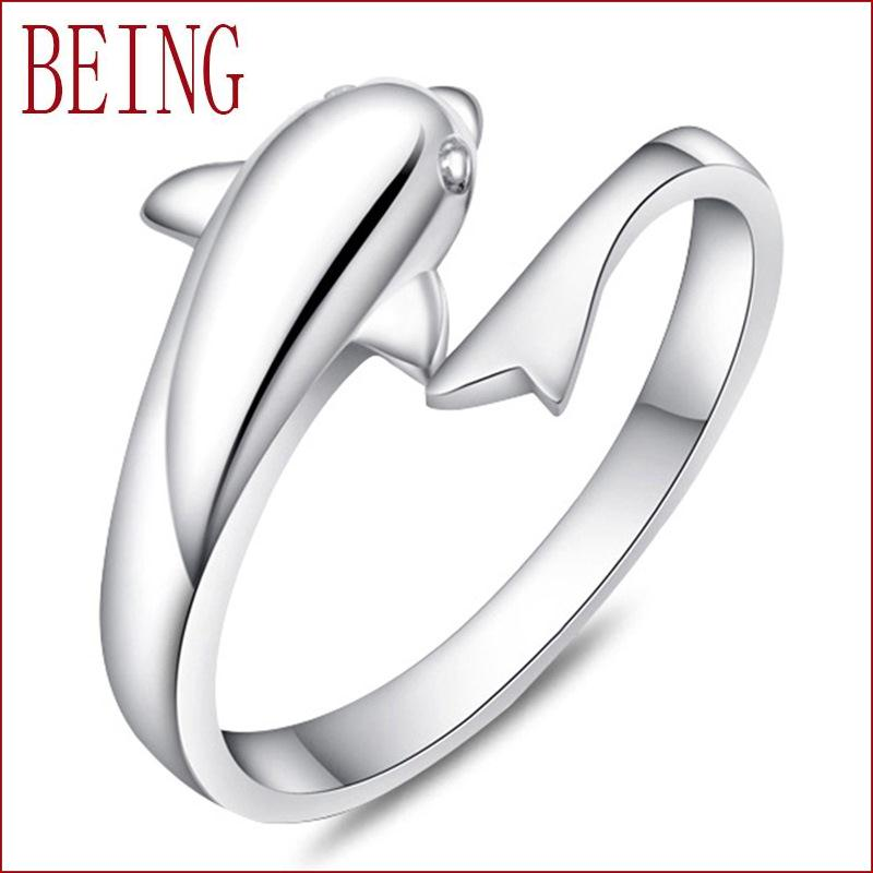 2016 new fashion women exquisite double silver rings adjustable open rings dolphin lovers fine jewelry wholesale gift(China (Mainland))