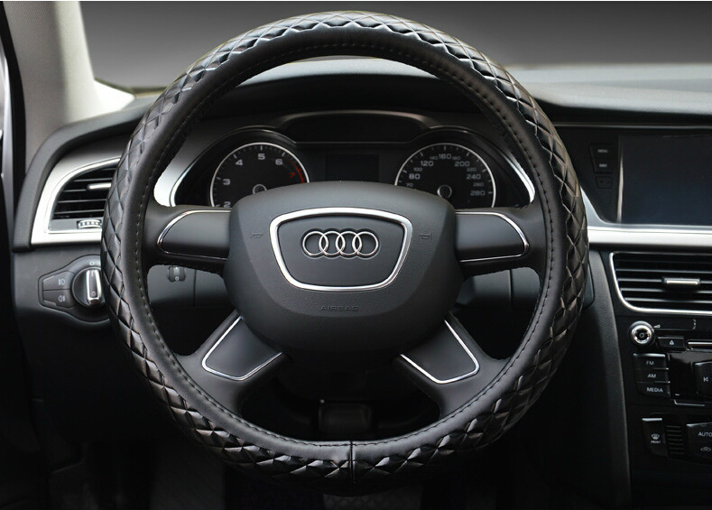 The first layer of imported cars to cover the diamond film calfskin embossed leather steering wheel cover paragraph(China (Mainland))