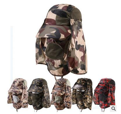Free shipping,Camouflage Cool sun hats for man.Jungle hats,fishing cap.outdoor sports army hats.360 protector.worker(China (Mainland))