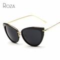 ROZA Women s Sunglasses Cat Eye Style Alloy Temple Coating Mirror Lens Retro Sun Glasses Brand