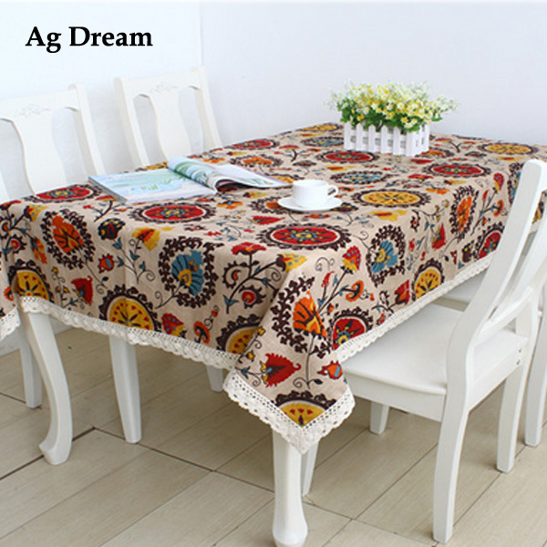 2015 New exotic National flowers table cloth wind sunflower design house restaurant cotton and linen tablecloth .A018(China (Mainland))