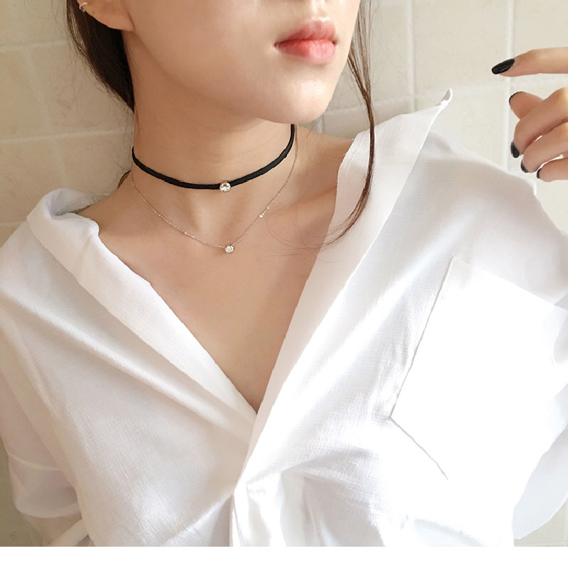 Gold Plated Double Layer Zirconia Diamond Necklace Women Fashion Cocktail Party Jewelry Black Leather Choker Necklaces(China (Mainland))