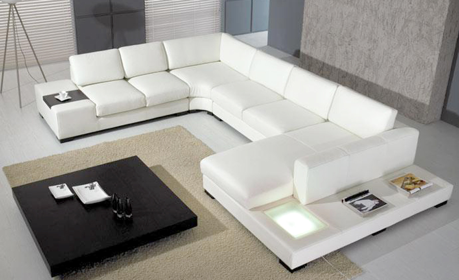 European laest designer Sofa Large Size U Shaped White Leather Sofa with LED light, coffee table Living Room Furniture Sofa(China (Mainland))