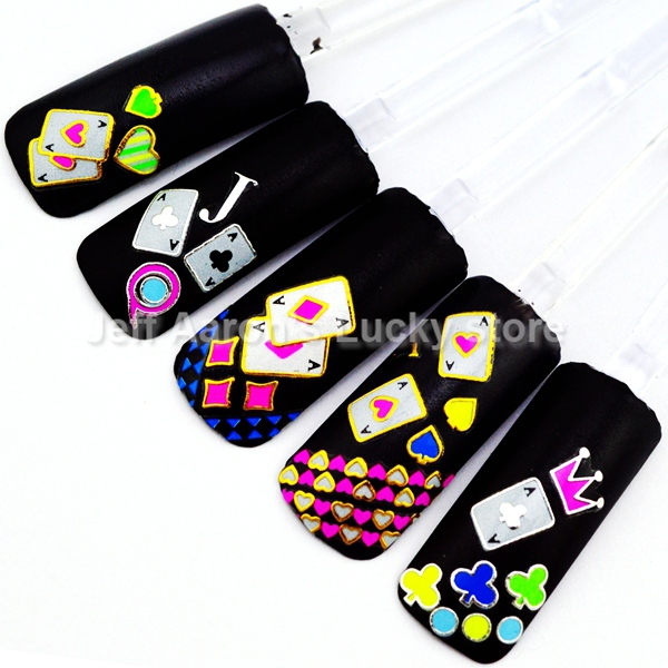 Beauty Neon Color nail sticker decals art tips decorations tool fingernails poker design TA - Lucky Store store