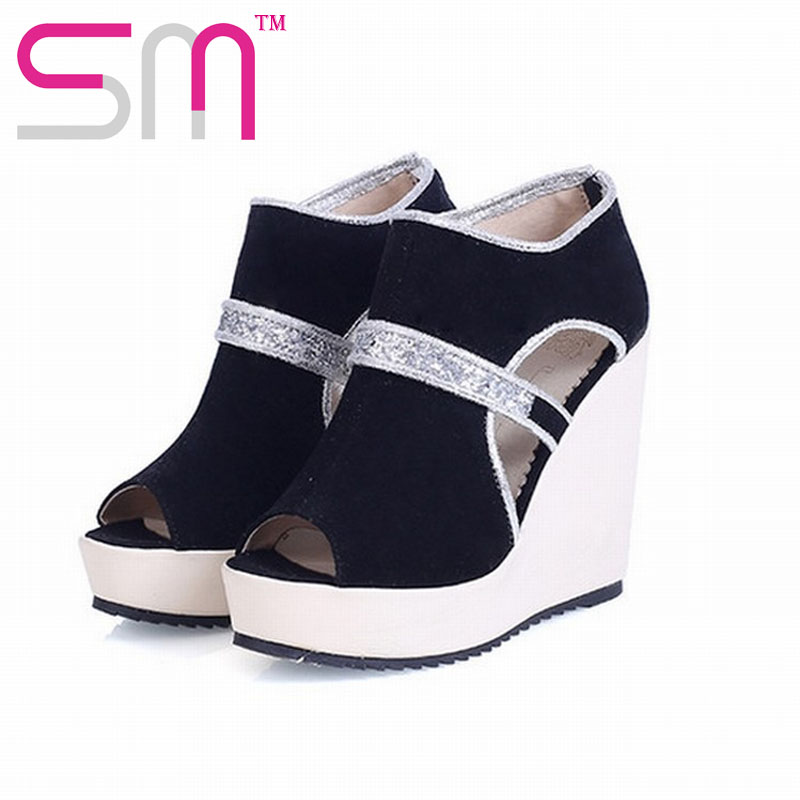 Fashion High Wedge Summer Slip On Sandals Sexy High Platform Gladiator Flip Flop Shining Sequined Nubuck Summer Heel Shoes(China (Mainland))