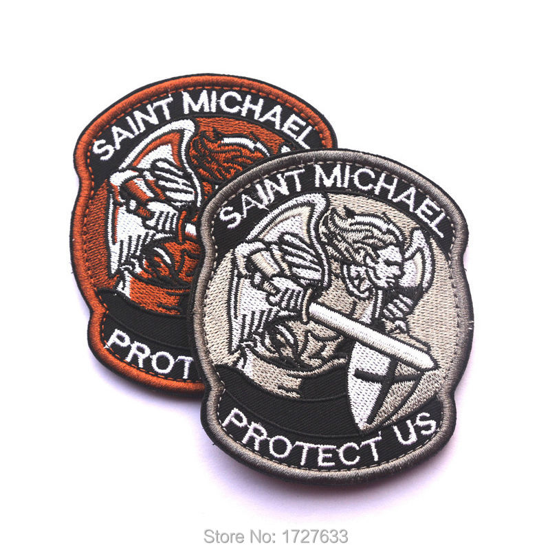83*70mm PROTECT US SAINT MICHAEL Embroidered Patches Badge Military Tactical Clothing Backpack Baseball Caps Badges Armband(China (Mainland))