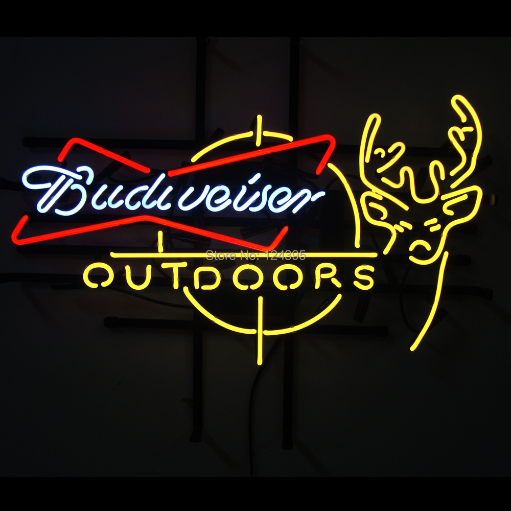 Super Bright!!Fashion Neon Sign Budweiser Outdoors Deer Handcrafted Neon Light Neon Sign Beerbar Sign Neon Beer Sign24x20!!!(China (Mainland))