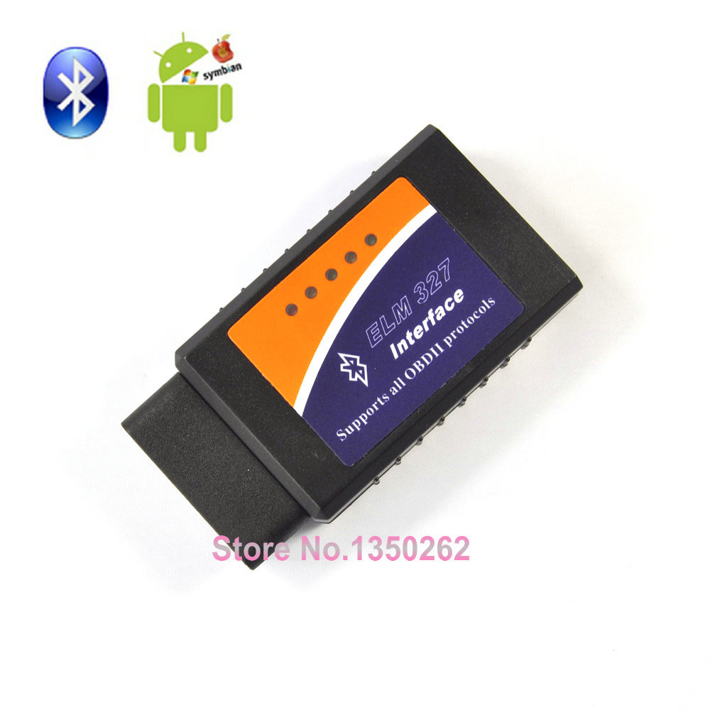 [50pcs/lot] Wholesales ELM327 Bluetooth OBDII/OBD2 Diagnostic Scanner Tool Works On Android DOS Windows(China (Mainland))