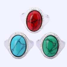 Wholesale 3Pcs Green&Red&Blue Vintage Retro Tibetan Silver Plated Round Turquoise Stone Ring For Men Fashion Turquoise Jewelry