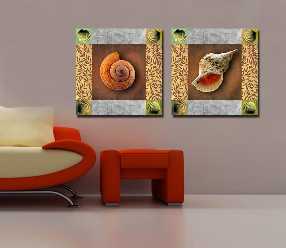 2piece, free shipping snail impressionist painting home decor, wall art picture, living room, decorative painting HH16(China (Mainland))