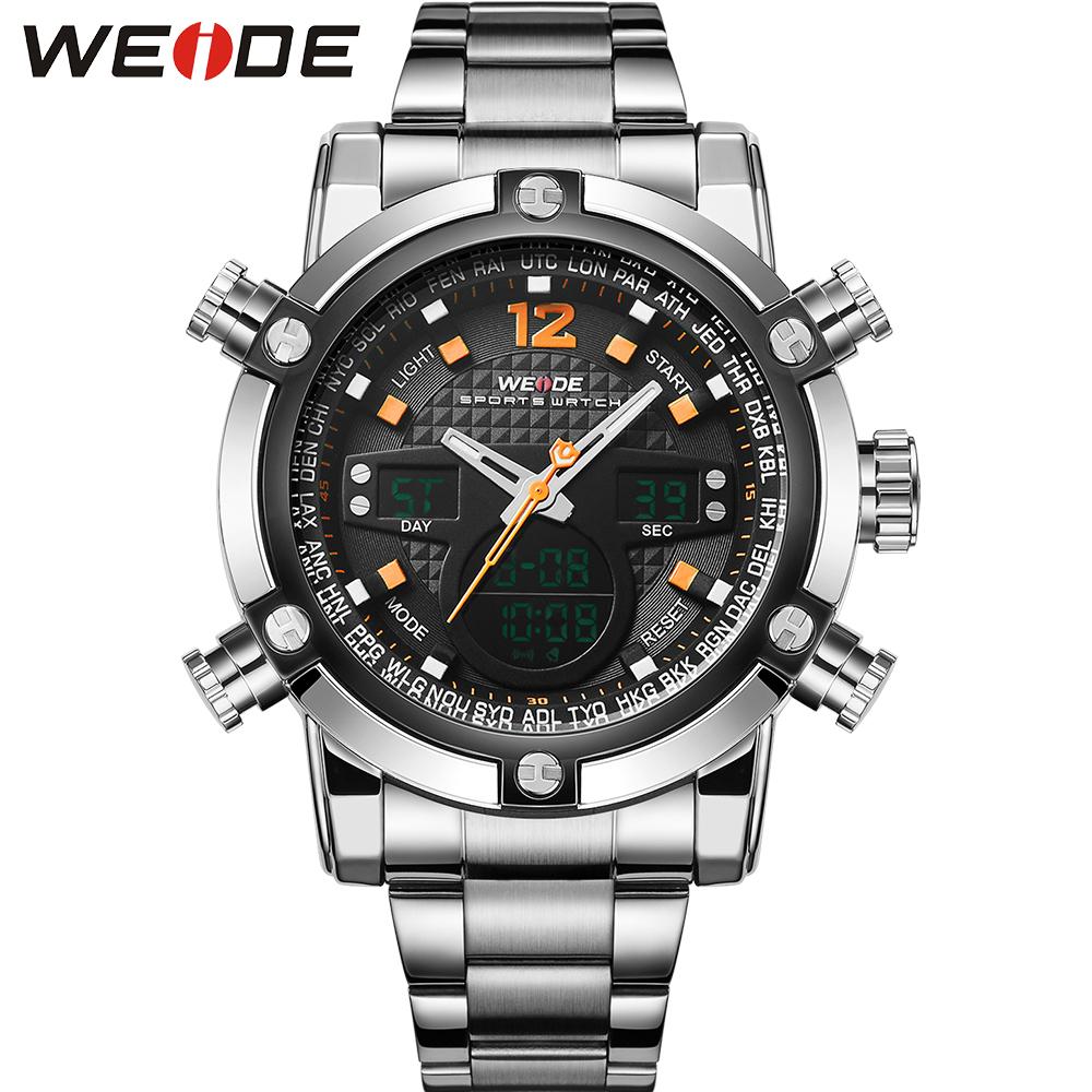 WEIDE Fashion Sport Watches Men Stainless Steel Band Waterproof Analog-Digital Display Quartz Big Dial Clock Watch Gifts for Men<br><br>Aliexpress