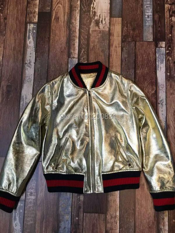 Top Quality Luxury Brand 2016 New Spring Coat Women Long Sleeve Jacket Women Gold Zipper Leather Jacket  Women Одежда и ак�е��уары<br><br><br>Aliexpress