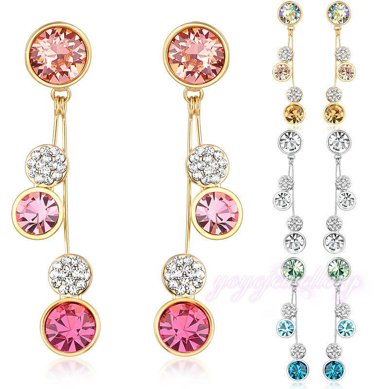 NEW Round Crystal Drop Dangle Earrings long 18K Gold Plated Gift E624 E625 E626 E627(China (Mainland))