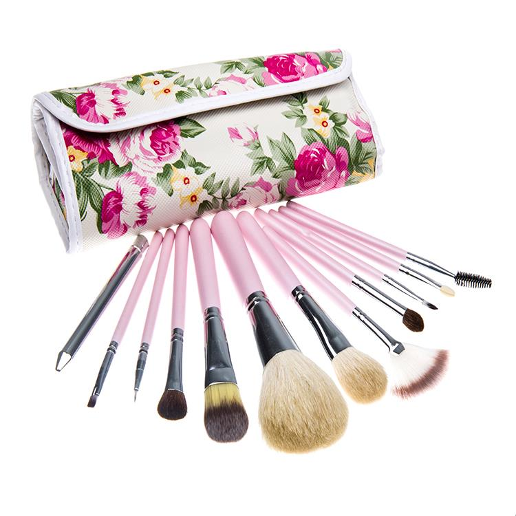 2015 Fashion 12 PCs goat hair makeup Brush Professional Makeup kits Cosmetic Facial Make Up Set tools With rose flower Bag(China (Mainland))