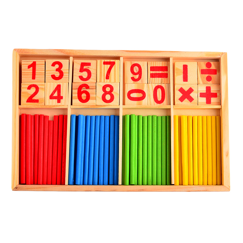 Wooden Mathematical Intelligence Stick Number Cards Counting Rods Montessori Preschool Early Educational Toys Set for Baby Kids(China (Mainland))
