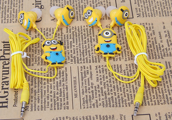 90% OFF cartoon Minions headphones 3.5mm headset head phone In-ear earphone Earbuds for iphone Samsung fone de ouvido minions(China (Mainland))