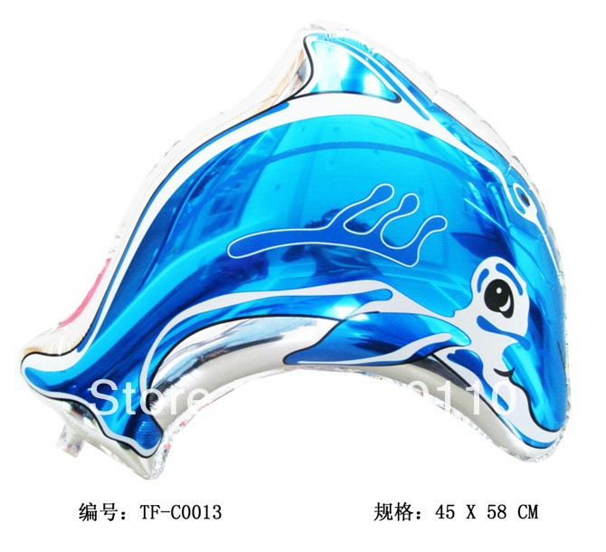 ! 2s foil balloon helium , dolphins, pink, blue 45cmX58cm - Happy Balloon Family store
