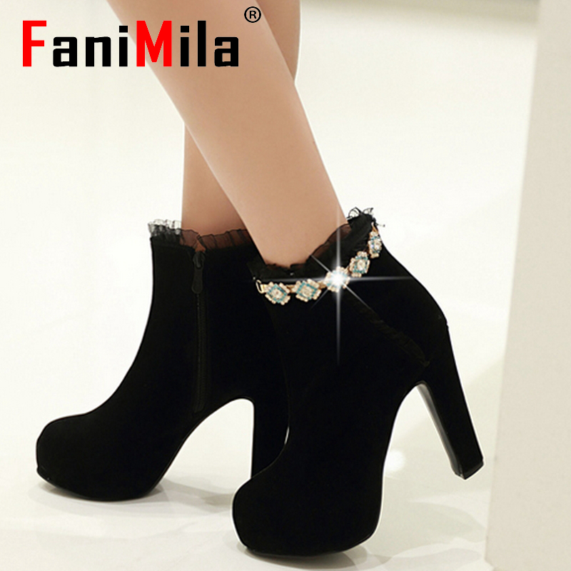 CooLcept Free shipping ankle high heel short boots women snow fashion winter warm boot footwear P15529 EUR size 32-43<br><br>Aliexpress