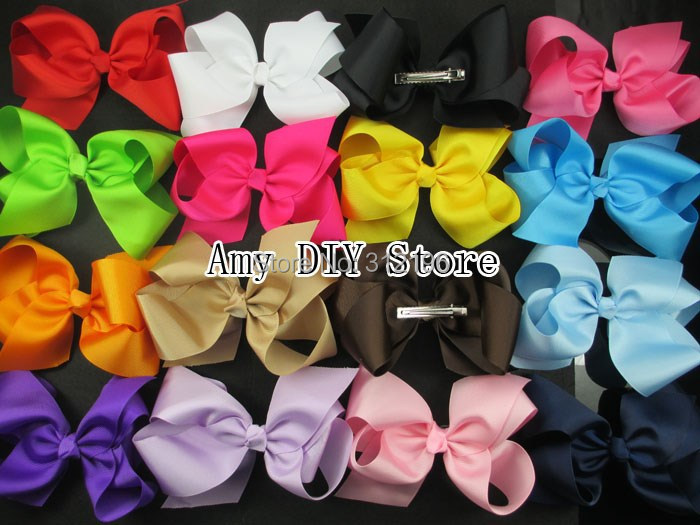 Free Shipping 6'' Hair Clips,Little Girls' Boutique Grosgrain Ribbon Hair Bows Hair Accessories 6 Inches Hairbow Hairpins Clips(China (Mainland))