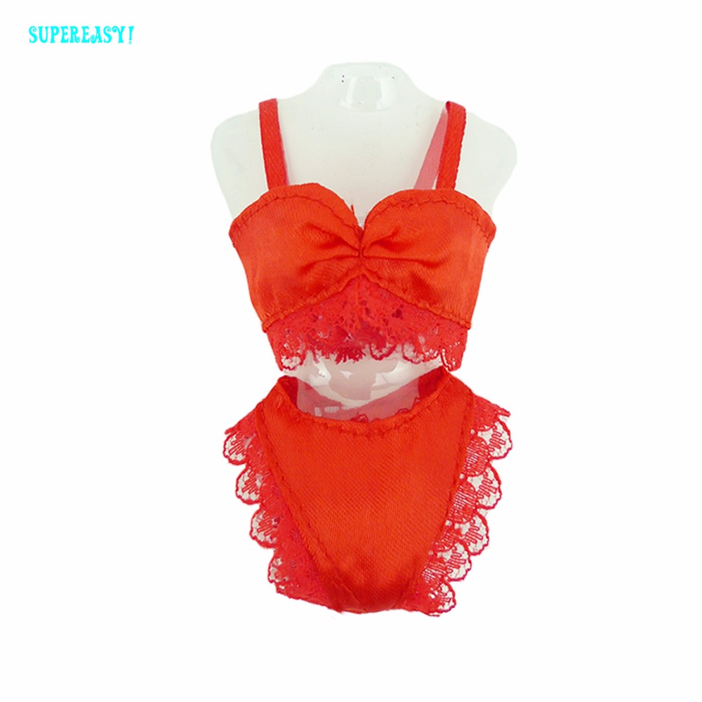 Free delivery  Crimson  Horny Pajamas Lingerie Nightwear Lace Evening Costume + Bra + Underwear Garments For Barbie Doll Skirt Garments