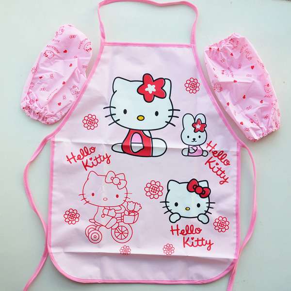 cartoon hello kitty suit waterproof apron + arm cover sleeve baby clothing paint kitchen oversleeve children clothing set(China (Mainland))