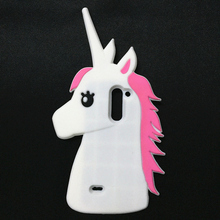 Fashion 3D Cute Cartoon Unicorn Soft Silicone Rubber Case Cover LG G3 Stylus D690 D690N White Horse - International Goods Stores store