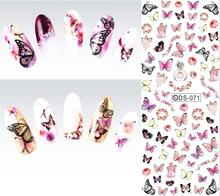 DS071 2015 Nail Design Water Transfer Nails Art Sticker Colorful Butterfly Nail Wraps Sticker Watermark Fingernails Decals
