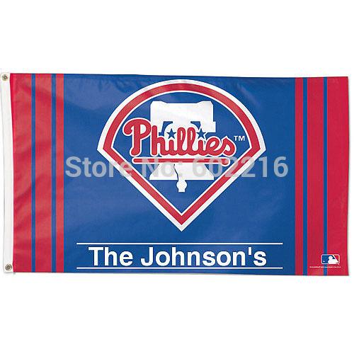Philadelphia Phillies Personalized The Johnson's Flag 3ft x 5ft Custom flag(China (Mainland))