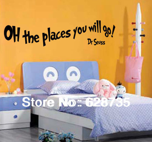 Large size amazon hot free shipping Oh the places you will go, Dr Seuss Quote Wall Art Children Sticker Decals,f2020(China (Mainland))