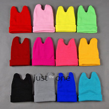 Lovely Cat Ear Style Knitted Hat Soft Warm Winter Elastic Acrylic Blended Beanie Candy Color(China (Mainland))