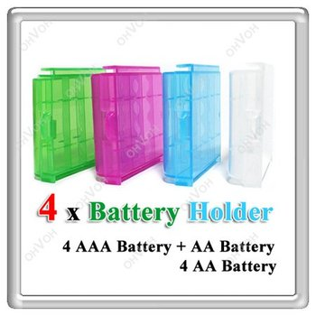 S5Y 4x Hard Plastic Case Pack Holder Storage Box for AAA AA Rechargeable Battery