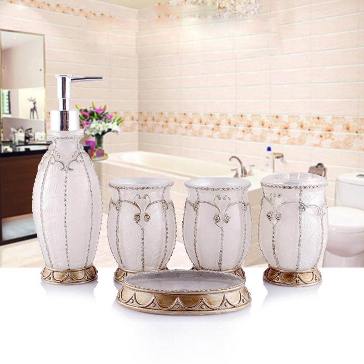 5pcs european style luxury bathroom accessories resin for G style bathroom accessories